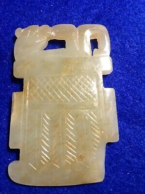 Chinese Qing Dynasty Antique Celadon Jade Plaque