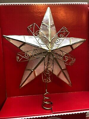 "CAPIZ Gold Christmas Tree Topper STAR Holiday Time Large 7 1/2"" STAR Decoration"