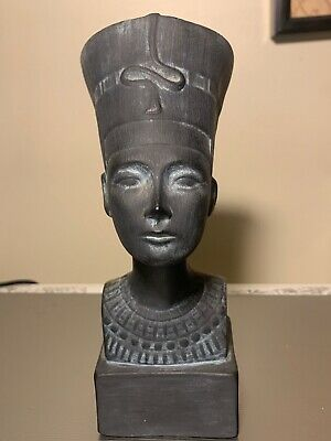VINTAGE ANCIENT EGYPT STYLE NEFERTITI BLACK CHALK STATUE, 7 1/2 inches high