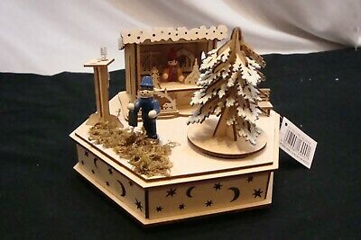 """ Lighted"" Hand Crafted Wooden Christmas Music Box (Silent Night)"