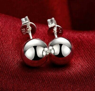 SOLID 925 Sterling Silver GENUINE 3mm Ball Stud Earrings FREE Shipping
