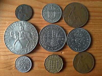 Old Set British Pre-Decimal Coins  Farthing To Crown Lot Scotish Shilling