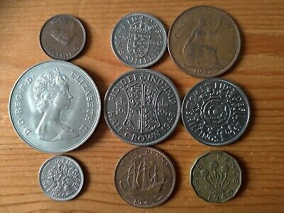 Old Set British Pre-Decimal Coins  Farthing To Crown Lot English Shilling