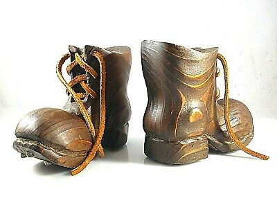 Vintage Small Pair Hand Carved Wooden Boots Leather Laces + Metal Studs