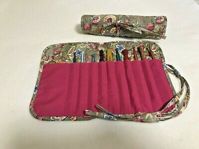 FLORAL SPLENDOR handmade quilted crochet hook holder / case  cotton fabric