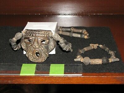 Pre Columbian, Tested, Pottery, Meso Amer, Mask Necklace w/Bracelet, + 800 1550