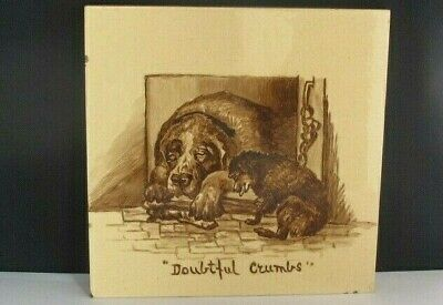 "Victorian Dog Large Tile Minton Hollins Title ""Doubtful Crumbs"" After Landseer"
