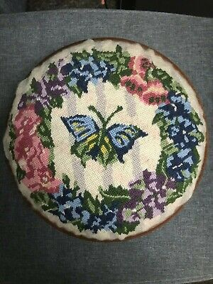 Vintage Round Wooden Foot Stool - Butterfly & Floral Tapestry