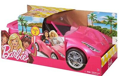 Barbie Glam 2 Seater Convertible Car Doll Vehicle In Sparkle Pink - New & Boxed