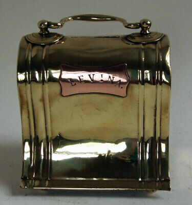 Antique Victorian Brass and Copper Sewing Machine Case Shaped Money Box LEVINA