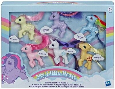 My Little Pony Retro Rainbow Mane 6 -80s-Inspired Collectibles with 6 3inch toys