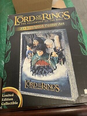 The LORD of the RINGS The Fellowship of the Ring 3D Sculpted Poster Art NEW