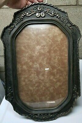 Antique Carved Wood & Tin, Oval Convex Glass,Ornate Picture Frame (Early 1900's)