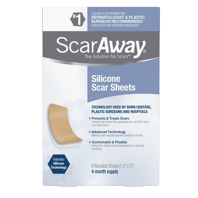 """Scaraway Professional Grade Silicone Scar Treatment Sheets 1.5"""" X 3"""" 8-Count"""