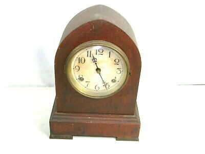 Antique Waterbury Key Wind Mantel Shelf Clock Bee Hive Cathedral