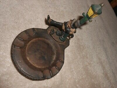 Vintage Old Cast Iron Lamp Post Drunk Man in Suit Cigarette Ash Tray