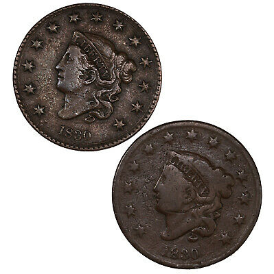 Braided Hair ONE COIN US Large Cent 1C Penny Cull     Classic Head Coronet