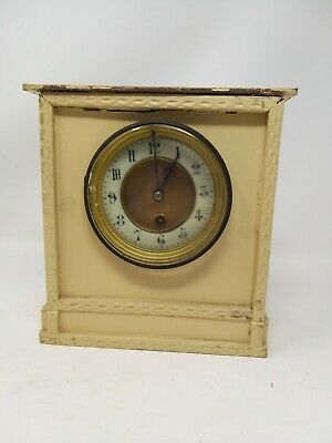 vintage theibl mantelpiece clock spares or repairs with pendulum no key