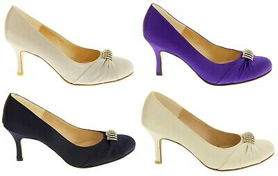 Ladies Womens Sabatine Satin Diamante Ruched Wedding/Court Shoes Size UK 3 4 6