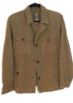J Crew Mens Field Jacket Brown Button Front Flap Pocket 100% Cotton Fall Work M