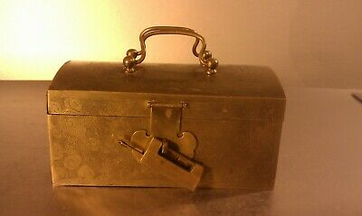 Antique Chinese brass box with original lock and key, wood inlay inside, etching