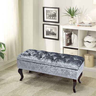 Crushed Velvet Tufted Storage Ottoman Seat Bench Chair Footstool Storage Bedroom