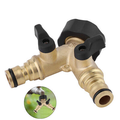 Solid Brass Garden Hose Pipe Double Tap Adaptor Twin Hosepipe Connector O