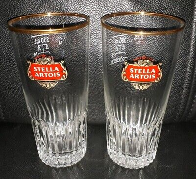 Pair Of Rare Collectable Stella Artois 330Ml Beer Glasses Great Used Condition