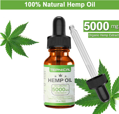 Hemp Oil with 5000mg of Organic Hemp Extract for Pain, Anxiety & Stress Relief