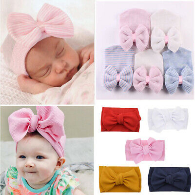 Baby Girls Infant Hat with Bow Cap Hospital Newborn Beanie Headbands Hairwrap UK