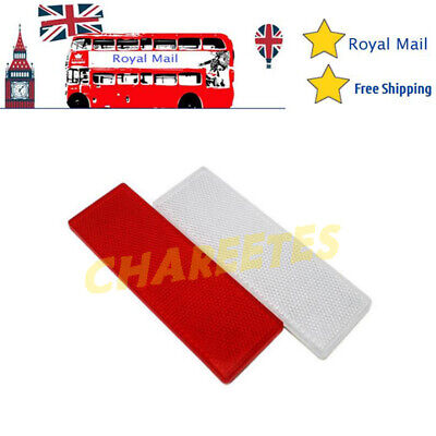 White+Red Car Rectangular Side Marker Reflector For Trailer Caravan Truck UK