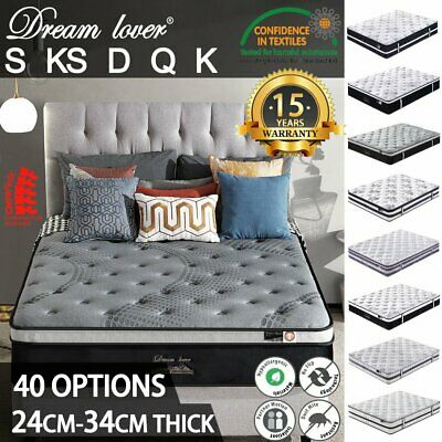 Queen Double King Single Mattress Bed Pocket Spring Memory Latex Foam-DREAM LOVE