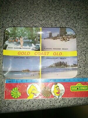LATE 1960/1970 Surfers Paradise Gold Coast QLD MELAMINE SMALL TRAY approx 14cm