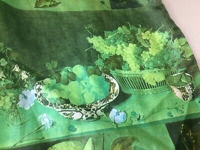 Vintage 60s 70s Curtains X 2, Retro Kitchen Curtains Green Grapes , Mid Century