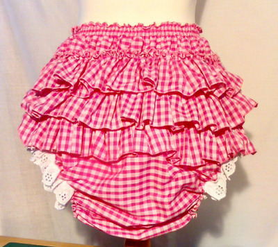 All sizes £30 Adult Baby ABDL Pink Blue Gingham Frilly Sissy Panties Nappy Cover
