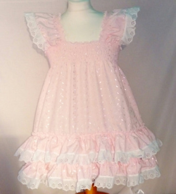 ALL Sizes £45 Adult Baby ABDL Sissy Pink Broderie Anglais Frilly Dress Cosplay