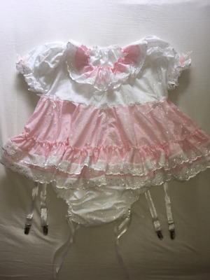 Sale ALL Sizes £95 ABDL Adult Baby Sissy Short Romper Dress in Pink & White