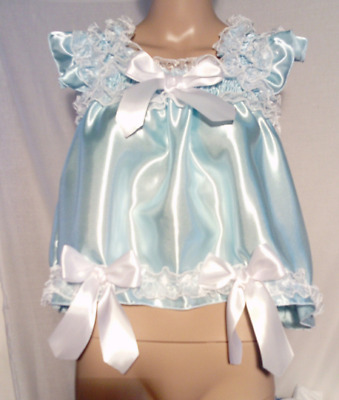 ALL Sizes £35 abdl Adult Baby Satin Sissy Short Dress / Top in Light Blue frilly