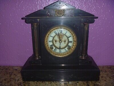 Antique Marble/Slate Ansonia Clock Co New York! For Light Restoration Or Display