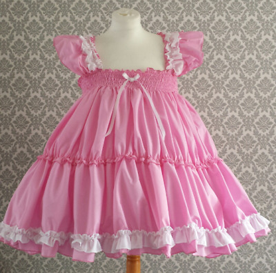All sizes £45 abdl Adult Baby Sissy Short Dress Candy Pink cotton FULL skirt