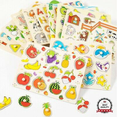 UK Learning Toys Baby Toddler Jigsaw Kids Puzzle Alphabet Letters Animal Wooden
