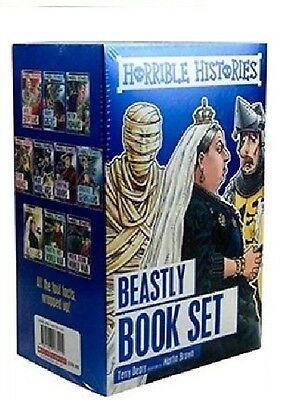 Horrible Histories __ 10 Beastly Books __ Blue Set __ Freepost Uk