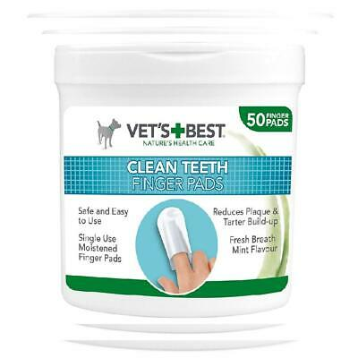 Vet's Best Teeth Cleaning Pads for Dogs, Pack of 50 Dental Wipes