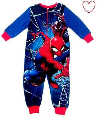 Kids Boys Spiderman All In One Pajamas Set Fleece