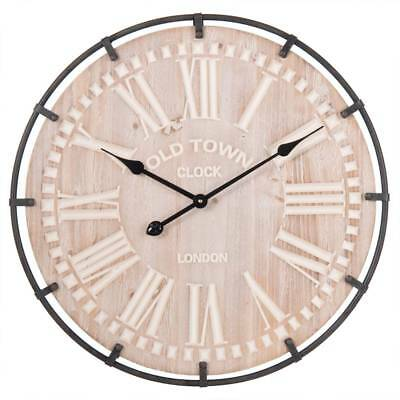 XXL Wall Clock Old Town D.60cm T.5cm Antique Brown + Natural Clayre & Eef