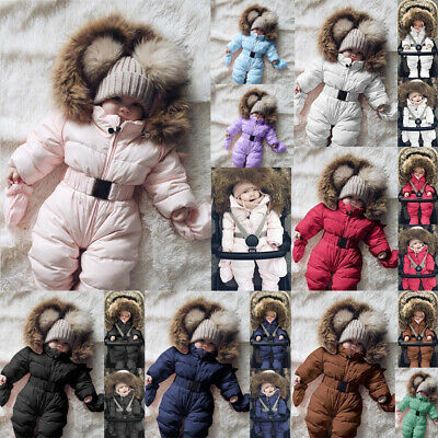 Winter Warm Infant Baby Boy Girl Romper Jacket Hooded Jumpsuit Thick Coat Outfit