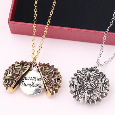 Chain Women Fashion You Are My Sunshine Pendant Necklace Sunflower Open Locket