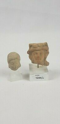 Lot of Two Ancient Hellenistic Greek Terracotta Head Archaic 4th-3rd C. BC