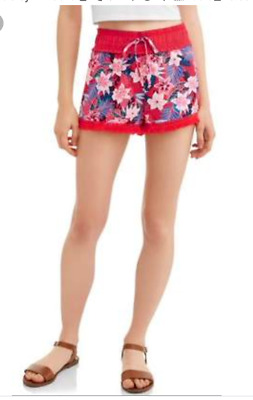 new No Boundaries Soft Shorts girls  rock red floral size s (3-5)