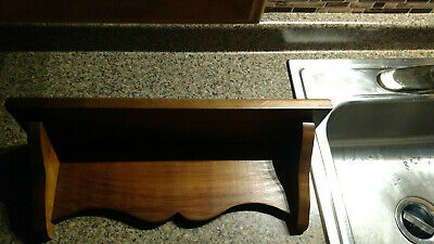 """VINTAGE WOOD WALL Hanging SHELF 18X5 1/2"""" Colonial Wooden Figurine Holder"""